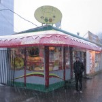 Despite a spring snow storm, David and his trusty sidekick braved their way to the tiny, colorful Falafel King.