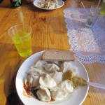 The eponymous pelmeni - with a glass of hard-to-find Mountain Dew in Moscow.