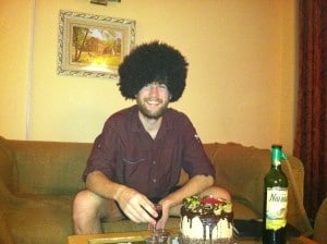 Birthday with Turkmen wine and Sheep Hat