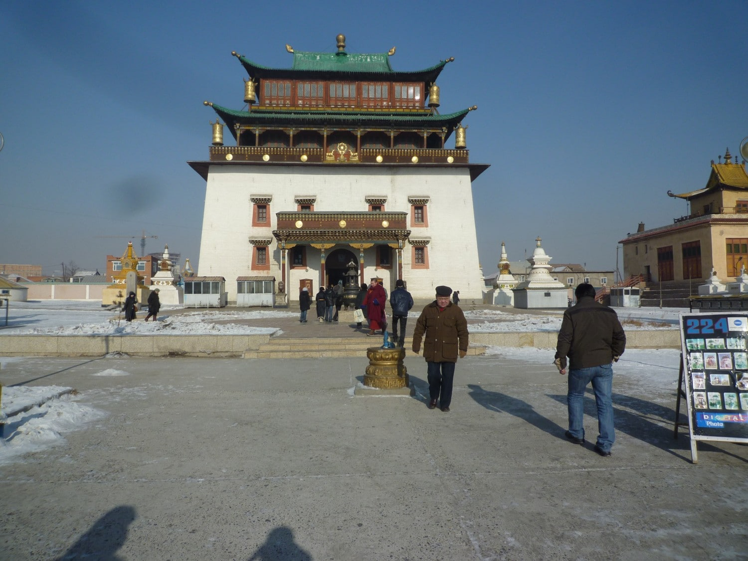 The Gandan Khir or the Gandantegchinlen Monastery, as it is more commonly known in English, is the main Buddist monastery in Ulaanbaatar