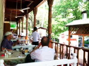 Dining at a topchan on the terrace