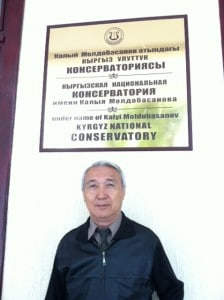 Duishaliev Kamchibek Sharshenovich in front of the Kyrgyz National Conservatory