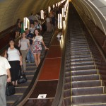 One of the many long escalators found in the Kiev metro stations
