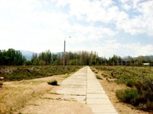Paved walkway that led from camp to the beach