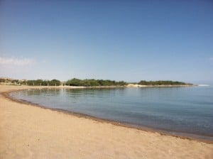 Empty beach at Lake Issyk Kul