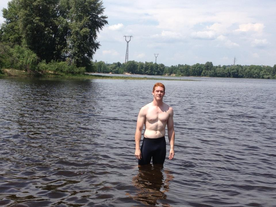 Me in the Dnipro River. Easily the whitest guy at the beach, but I didn't burn!
