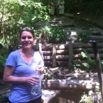 The author collecting cool, refreshing holy water on a hot Ukrainian day!