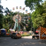 carnival attractions in Holosiivskyi Park