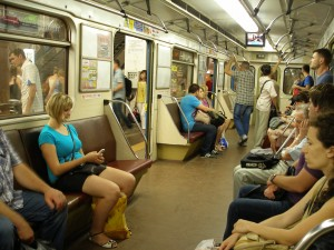 typical Kyiv metro car at non-peak traffic time
