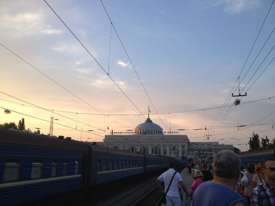 There at last: the central vokzalna, or train station, in Odessa.