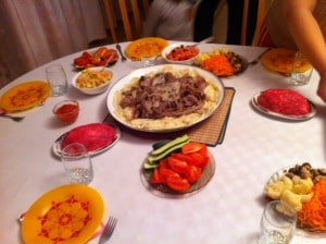 Pictured is our birthday feast! The Kazakh national dish, beshbarmak (бешбармак) is featured in the middle, and alongside it are various Russian salads.