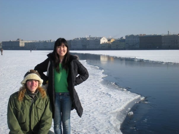 Anne Choi in St. Petersburg with a friend.