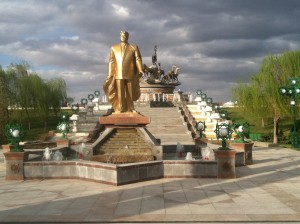 I don't know Turkmenbashi, don't you think a bunch of gigantic golden statues around the city may be a little excessive?