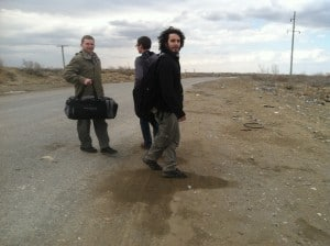 Me walking the border, with the rug, looking like I stuck my finger in an electric socket.