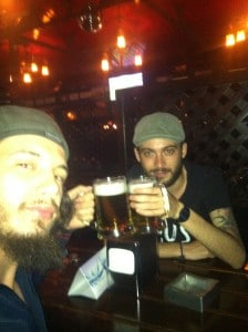 Me and Gabriele do a cheers to beers.