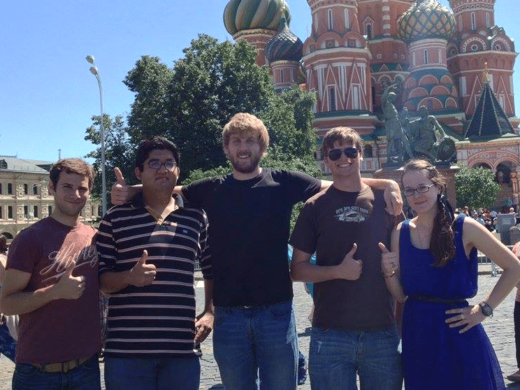 Dirk Hryekewicz, center, with other SRAS students while on a walking tour of Moscow.
