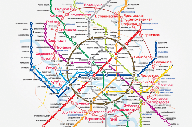 The new metro ring line and the Moscow Ring Railroad will be integrated systems to speed Moscow's public transporation. The path of the Ring Railroad is shown here with fainter, straight lines.
