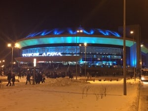 Fetisov Arena on a winter's night