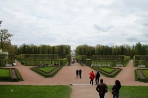 Looking out from the palace onto the Hermitage
