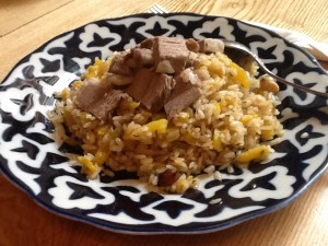 Plov with meat, fruit, and vegetables. Better than the one from the stolovaya.