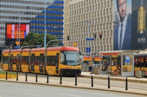 Buses and trams are everywhere in Warsaw