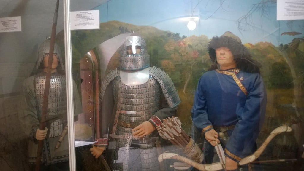 Clothing, armor, and weapons from the Mongol period on display in the museum