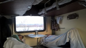 Our sleeping arrangements in the train.