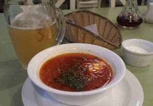 Borshch at the IVF People's Restaurant and a White Lion beer from the Lviv Brewery