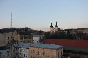 Taken from the roof of the Dim Legend restaurant in Lviv