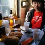 Enjoying some lunch on the train.