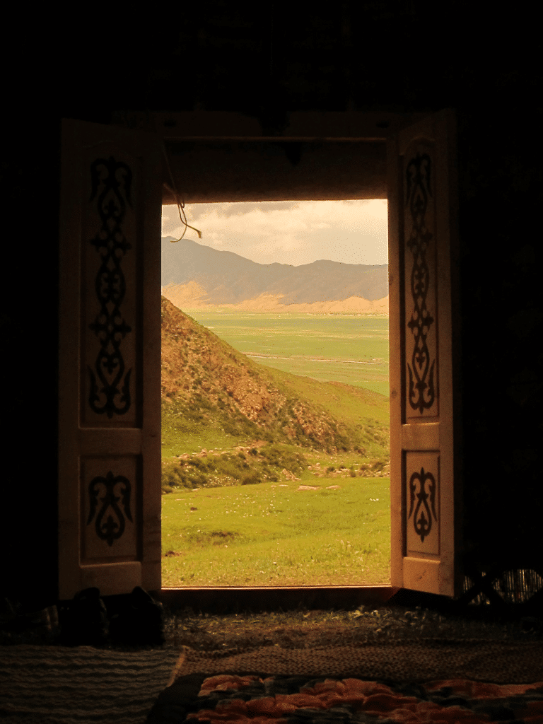 The view from inside a yurt.