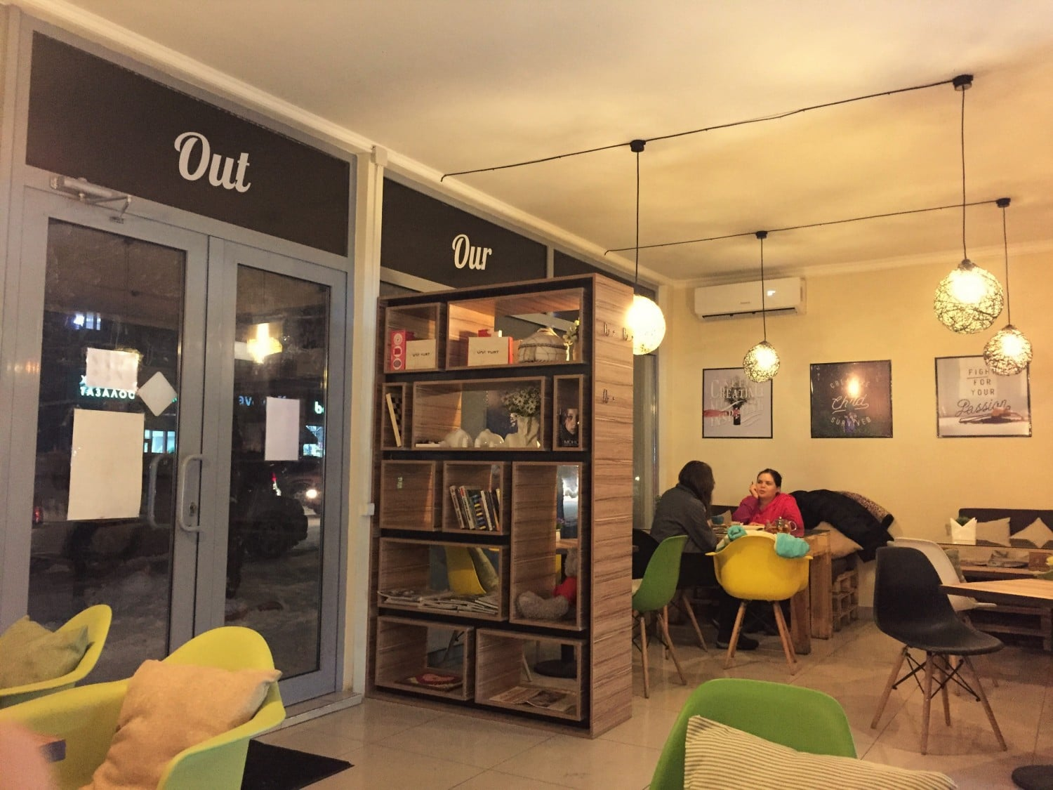 The comfortable interior at Cup and Cake