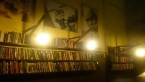 Star Wars Storm Troopers on wall under bookshelf inside of Paradox Cafe